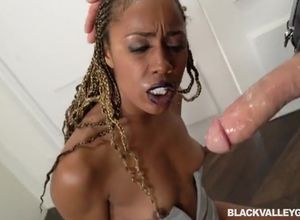 Ebony gal Misty oral arrested in her..