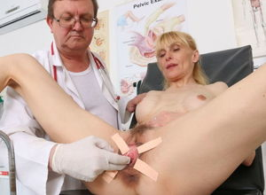 Slender mature woman's labia..
