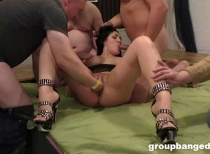 Spunk decorated gang-fuck empress