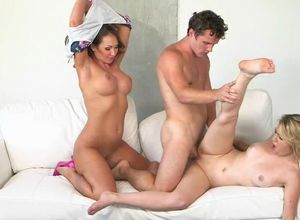 Stepmom helps stepdaughter and her guy..