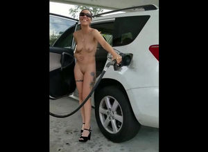 Nude cougar cram a tank with gasoline