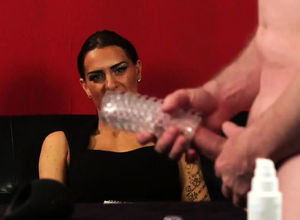 Female dom honey eyeing dummy tug his..