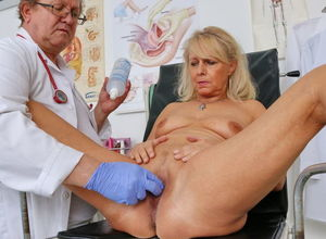 Elderly cootchie examination of steamy..