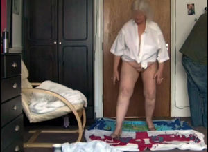Highly  grandmother dancing fully bare
