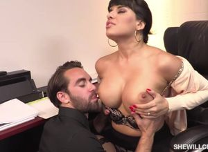 Huge-chested boss, Mercedes Carrera..