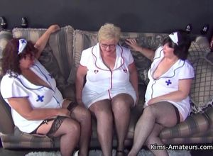 3 plumper grandmothers in nurses garbs