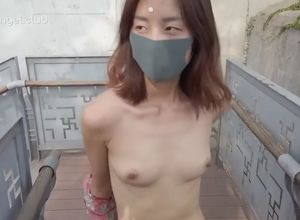 Asian lady walk naked older monument..