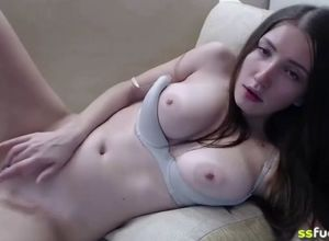 Super-cute young woman have fun with..